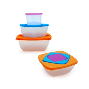 Capacity: 230ml purple + 560ml blue + 1200ml orange. Secure yet easy to open. Large logo printing area. Store food to be taken anywhere. Microwavable.
