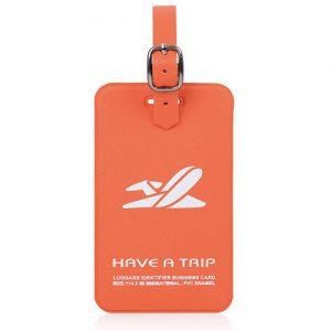 Rectangular luggage tag with logo stamping
