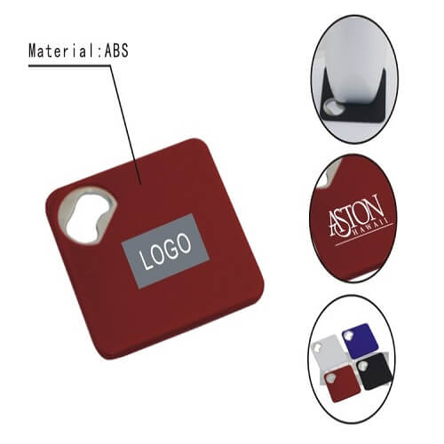 coaster with bottle opener feature