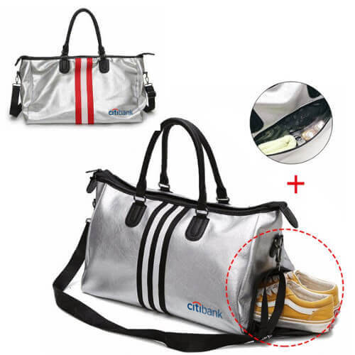cheap leather travel sports bag with custom print singapore wholesaler