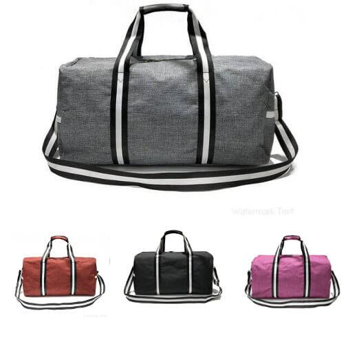 cheap basic duffle bag with company logo print