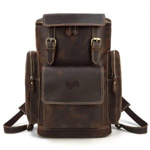 premium custom leather backpack with logo printing in wholesale price
