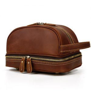 Custom leather singapore toiletries bag