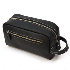 custom leather toiletries bag singapore with custom logo print
