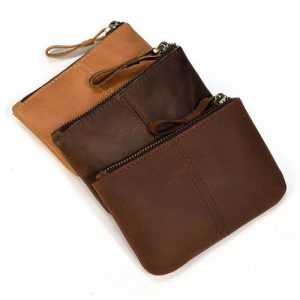 premium custom leather coin pouch