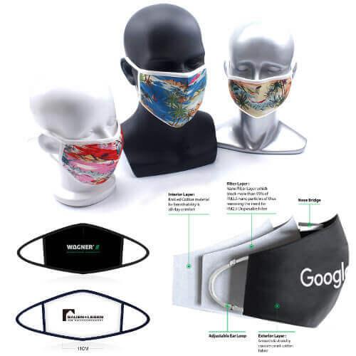 reusable mask with custom company logo print Singapore wholesaler