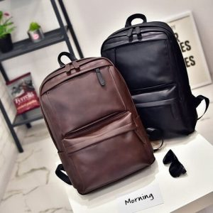 Customised PU Leather School Backpack with logo print
