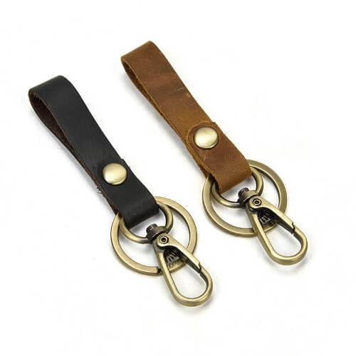 Singapore Genuine Leather Keychain with CarabinaSupplier