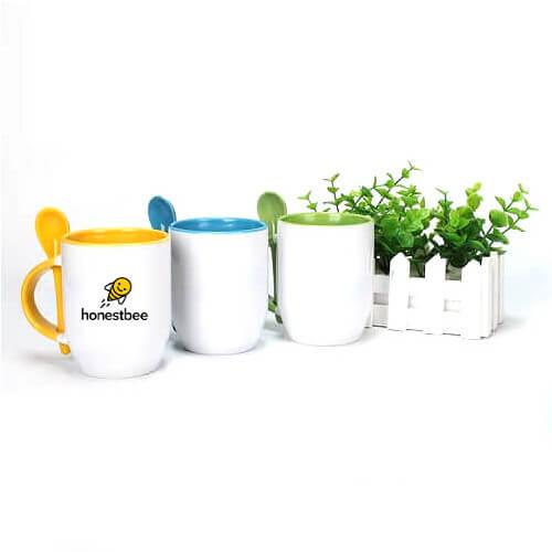 custom logo print ceramic mug with spoon