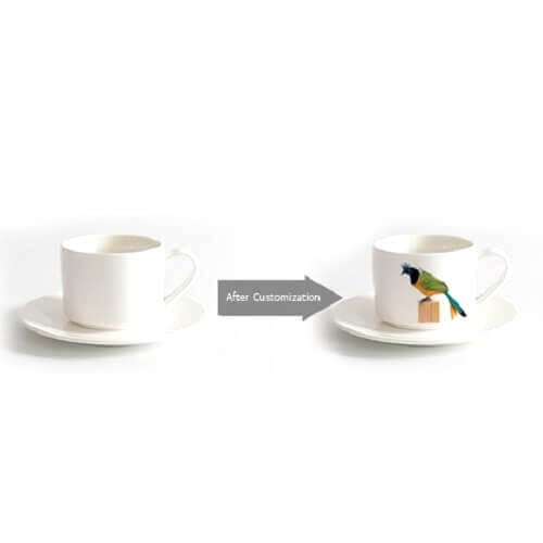 CUSTOM LOGO PRINT Ceramic Coffee Cup With Saucers-Picture 3