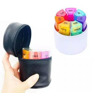 Cylinder Leather Pill Box