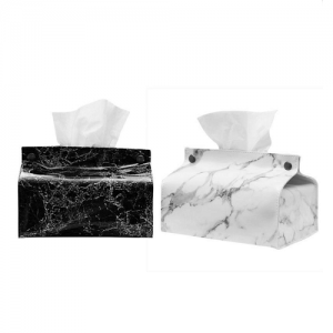 Marble Design PU Leather Tissue Holder with logo imprint