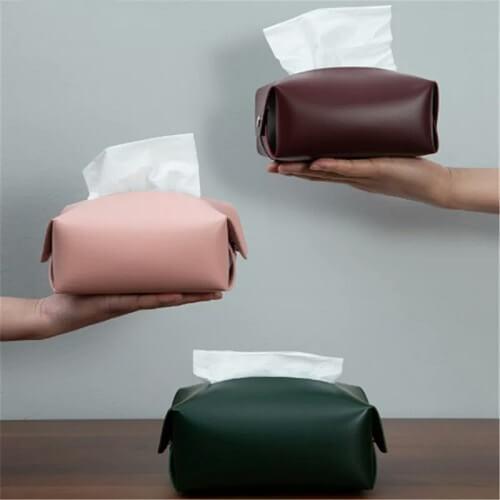 PU leather Tissue box with custom logo print