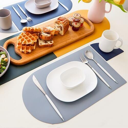 PU leather Tableware Mat with custom company logo print