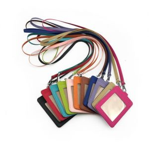 PU Leather Card Holder with Neck Strap Lanyard Singapore