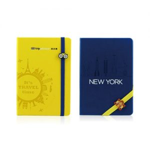 logo printed PU leather notebook