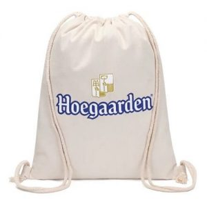 Logo Print Canvas Drawstring Bag