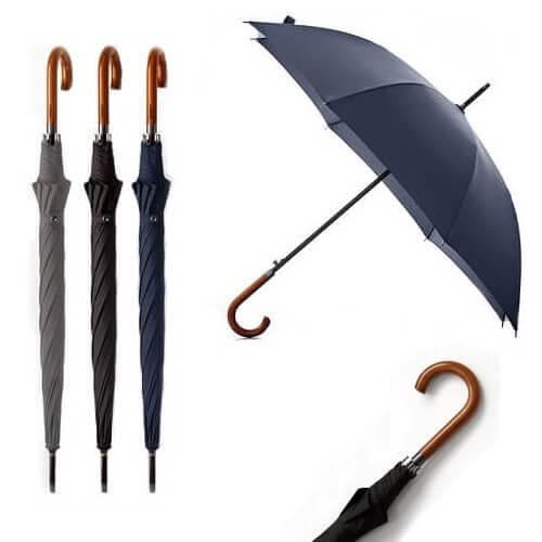 Singapore Custom Logo Wooden Long Handle Corporate Umbrella-Main Feature