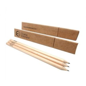 Custom Made Logo Print HB Pencils With Triangle Kraft Paper Box