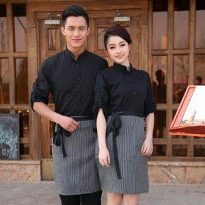 Supplier Long-Sleeved Restaurant Waiters Uniform With Apron Set-Picture 5