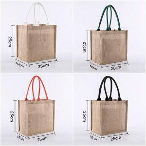Custom Burlap Bag With Laminated Interior Soft Cotton Handle